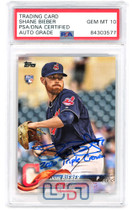 """Shane Bieber Indians Signed """"2020 TC"""" 2018 Topps Update #US198 PSA/DNA 10 Auto"""