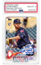 """Shane Bieber Indians Signed """"MLB Debut"""" 2018 Topps Update #US198 PSA/DNA 10 Auto"""