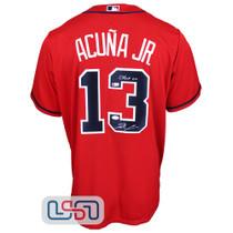"Ronald Acuna Jr. Signed ""Chop On"" Red Atlanta Braves Nike Jersey JSA Auth"