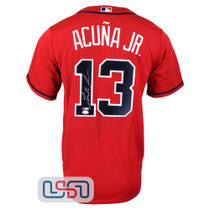 Ronald Acuna Jr. Autographed Full Name Red Atlanta Braves Nike Jersey JSA Auth