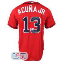 "Ronald Acuna Jr. Signed ""Acuna Matata"" Red Atlanta Braves Nike Jersey JSA Auth"