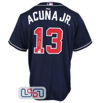 Ronald Acuna Jr. Signed Full Name Blue Atlanta Braves Nike Jersey JSA Auth