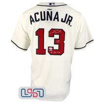 "Ronald Acuna Jr. Signed ""NL ROY 2018"" Cream Braves Nike Jersey JSA Auth"