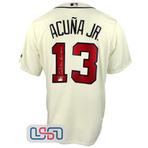 Ronald Jose Acuna Blanco Jr. Signed Full Name Cream Braves Majestic Jersey JSA