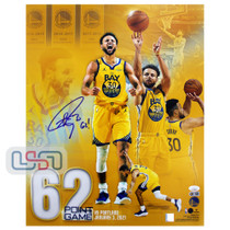 """Stephen Curry Warriors Autographed """"62!"""" 16x20 Photograph Photo USA SM Auth #2"""