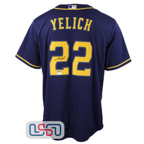 Christian Yelich Signed Autographed Replica Blue Brewers Nike Jersey JSA Auth