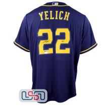 "Christian Yelich Signed ""Yeli"" Blue Replica Brewers Nike MLB Jersey JSA Auth"