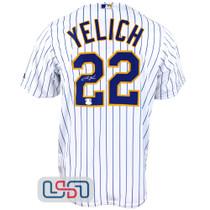 Christian Yelich Signed White Replica Brewers Majestic Pinstripe MLB Jersey JSA