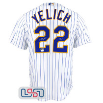 "Christian Yelich Signed ""Yeli"" White Replica Brewers Pinstripe MLB Jersey JSA"