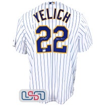 "Christian Yelich Signed ""Brew Crew"" White Replica Brewers Pinstripe Jersey JSA"