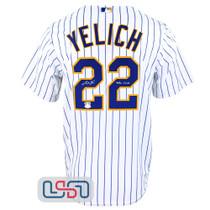 "Christian Yelich Signed ""40/30"" White Replica Brewers Pinstripe MLB Jersey JSA"