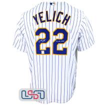 "Christian Yelich Signed ""NL MVP"" White Replica Brewers Pinstripe MLB Jersey JSA"