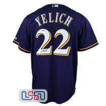Christian Yelich Signed Autographed Majestic Replica Blue Brewers MLB Jersey JSA