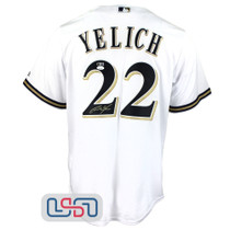 Christian Yelich Signed Autographed Majestic Replica White Brewers MLB Jersey JSA