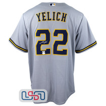 Christian Yelich Signed Autographed Replica Grey Brewers Nike Jersey JSA Auth