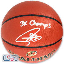 """Stephen Curry Signed """"3x Champs"""" NBA Finals Warriors Spalding Basketball USA SM"""