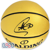 Stephen Curry Warriors Signed Autographed Gold Spalding NBA Basketball USA SM