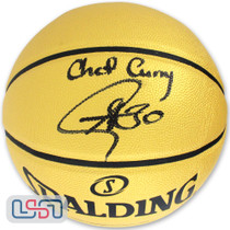 """Stephen Curry Warriors Autographed """"Chef Curry"""" Gold Spalding Basketball USA SM"""