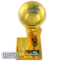Stephen Curry Warriors Signed Autographed 2015 NBA Finals Replica Trophy USA SM