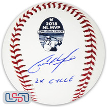 """Christian Yelich Brewers Signed """"2X Cycle"""" 2018 NL MVP Logo Baseball BAS Auth"""