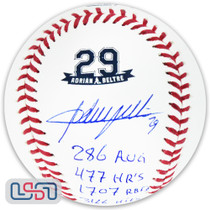 Adrian Beltre Texas Rangers Signed Career Stats #29 Retirement Baseball JSA Auth