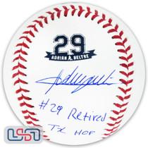 """Adrian Beltre Rangers Signed """"#29 Retired, TX HOF"""" Retirement Baseball JSA Auth"""