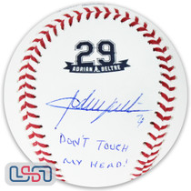 "Adrian Beltre Rangers Signed ""Don't Touch My Head!"" #29 Retirement Baseball JSA"
