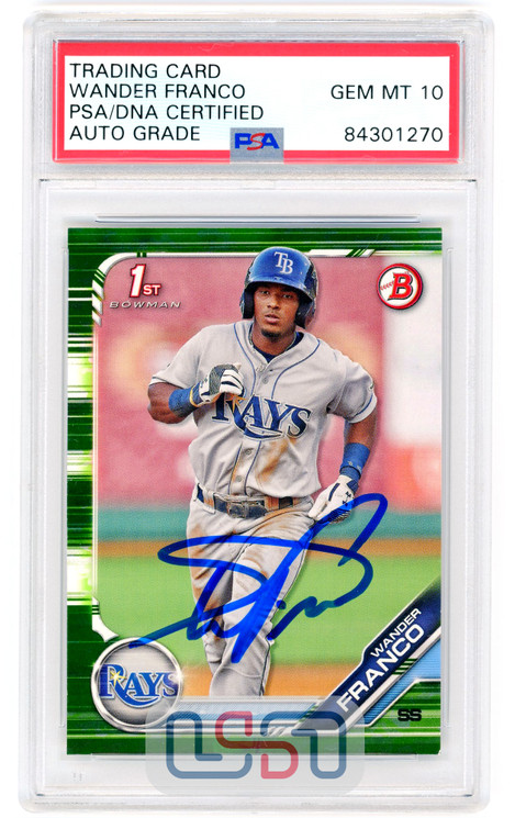 Wander Franco Tampa Bay Rays Signed 2019 First Bowman Camo #BP-100 PSA/DNA 10 Auto