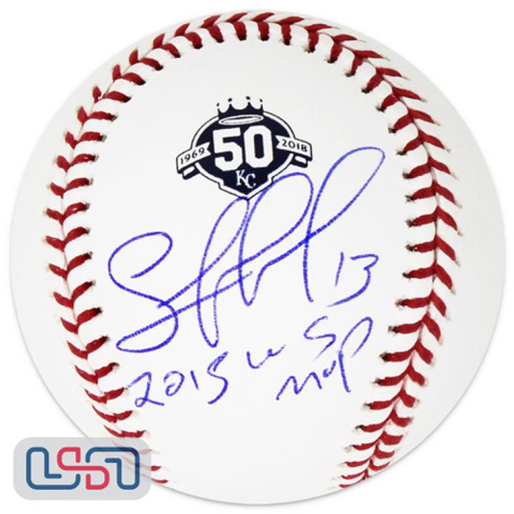 "Salvador Perez Royals Signed ""2015 WS MVP"" 50th Anniversary Baseball JSA Auth"