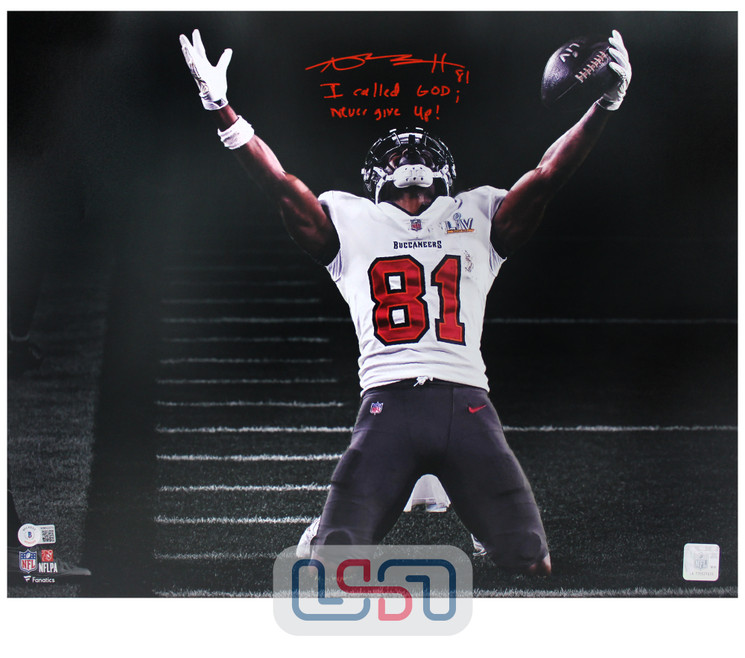 """Antonio Brown Buccaneers Signed """"Call God"""" 16x20 LV Photo Photograph BAS Auth"""