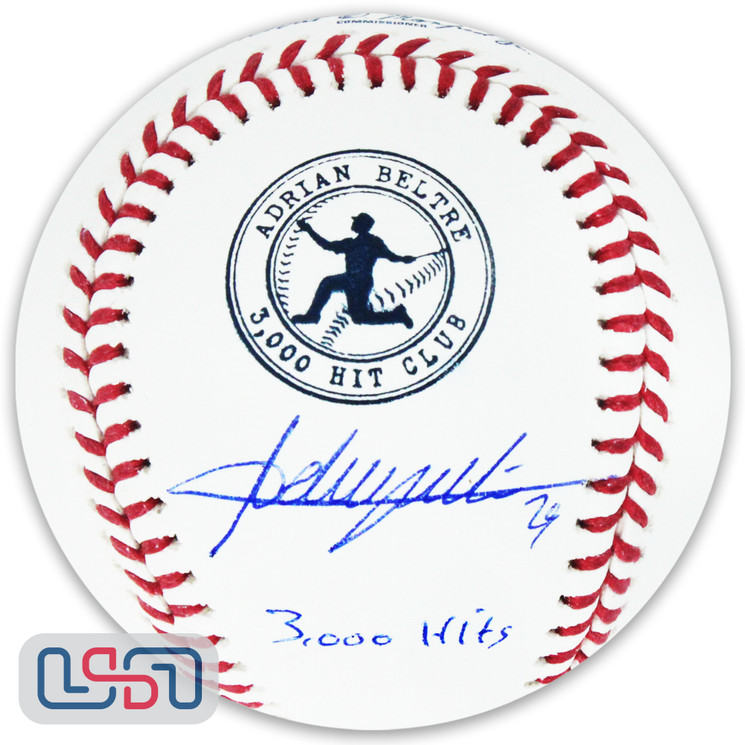 "Adrian Beltre Texas Rangers Signed ""3,000 Hits"" 3,000 Hit Club Baseball JSA Auth"