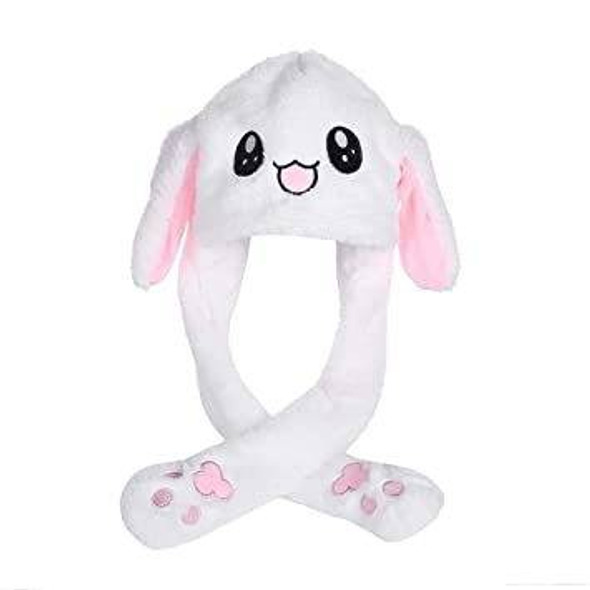 EA-COS White Pink Rabbit Plush Hat With Pumping Moving Ears