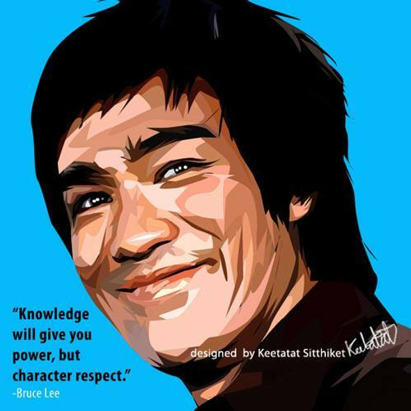 World Famous POPART Famous POP ART Bruce Lee Knowledge will give you power, but character respect Canvas Frame