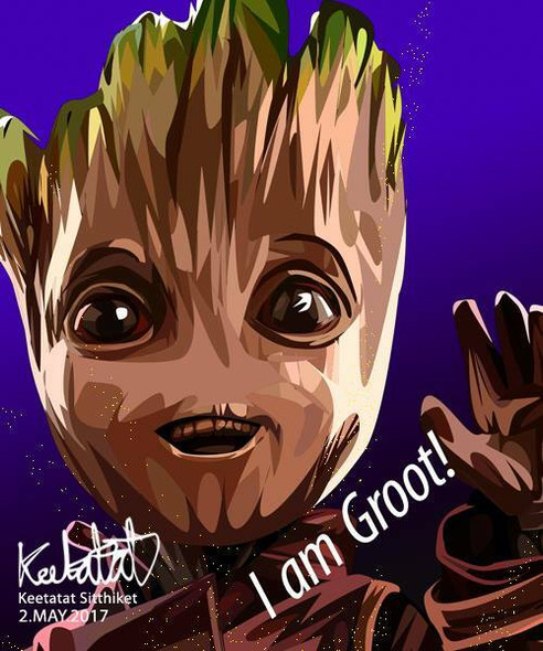 World Famous POPART Famous POP ART Baby Groot I am Groot Canvas Frame