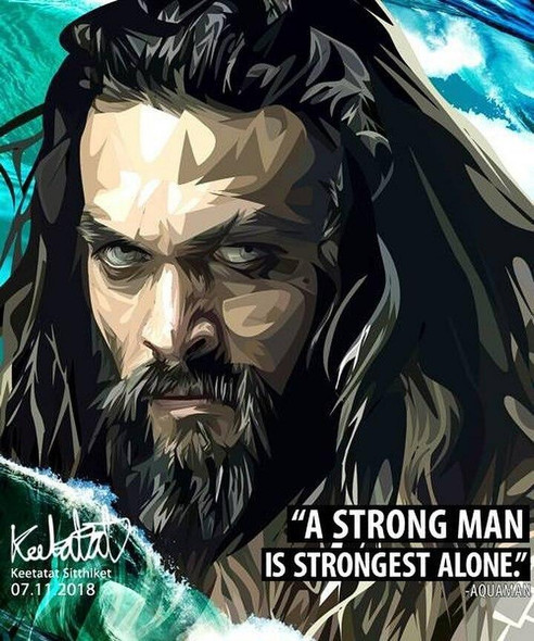 World Famous POPART Famous POP ART Aquaman A strong man is strongest alone Canvas Frame