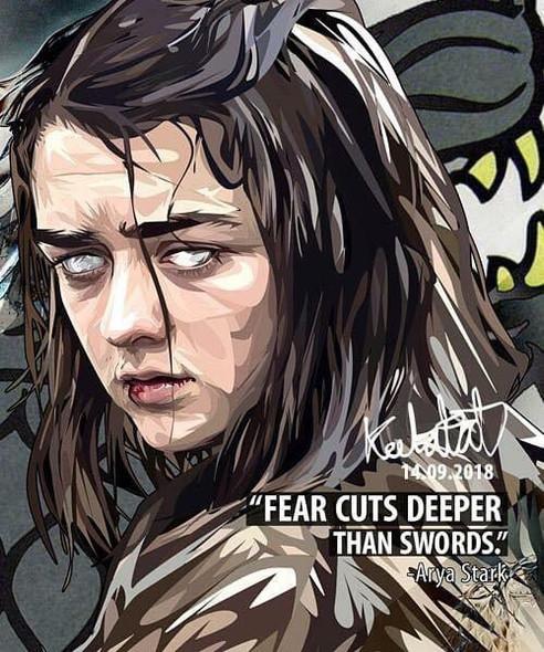 World Famous POPART Famous POP ART Arya Stark Fear cuts deeper than swords Canvas Frame