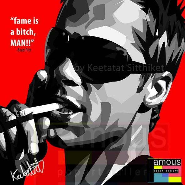 World Famous POPART Famous POP ART Brad Pitt Fame is a bh man Canvas Frame