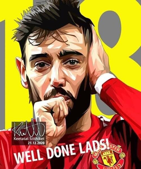 World Famous POPART Famous POP ART Bruno Fernandes Ver2 Well done lads Canvas Frame