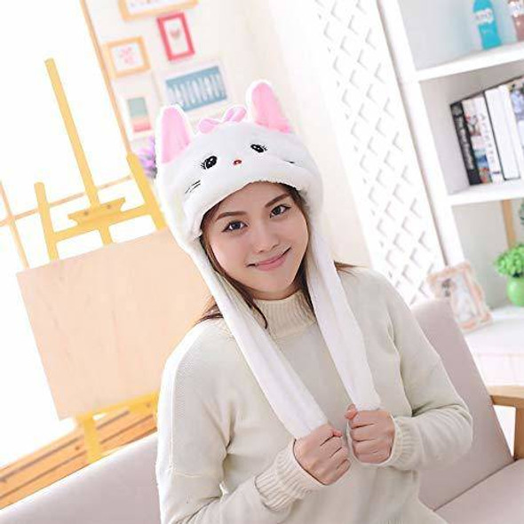 EA-COS Plush Bunny Moving Ear White Kitty Neko Plush Hat