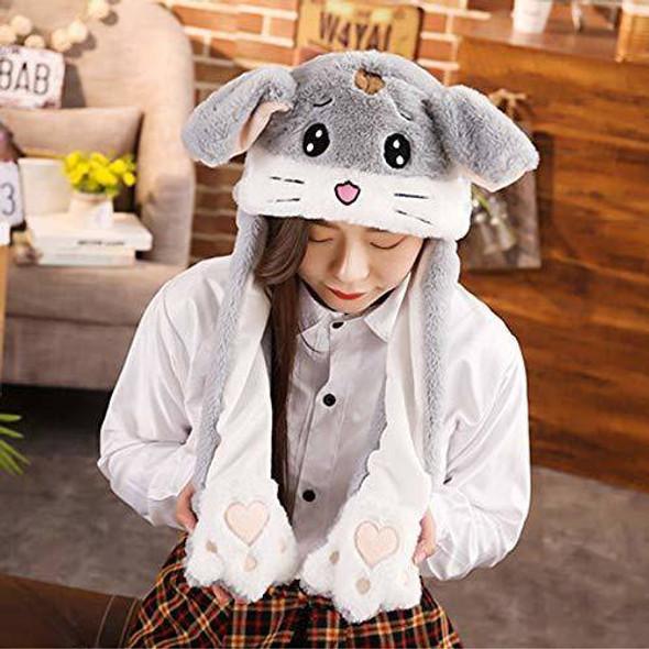 EA-COS Plush Bunny Moving Ear Grey Bunny Plush Hat