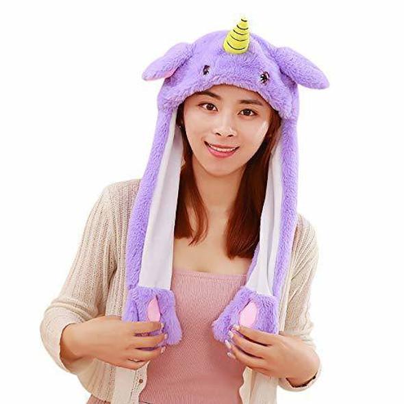 EA-COS Plush Bunny Moving Ear Purple Pink Blue Unicorn Plush Hat