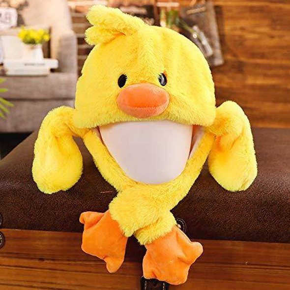 EA-COS Plush Bunny Moving Ear Yellow Duck Plush Hat