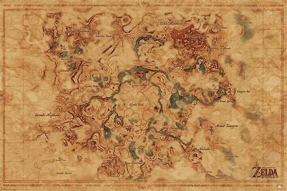 Pyramid International Officially Licensed The Legend Of Zelda Breath Of The Wild Hyrule World Map 61 x 91.5cm Poster