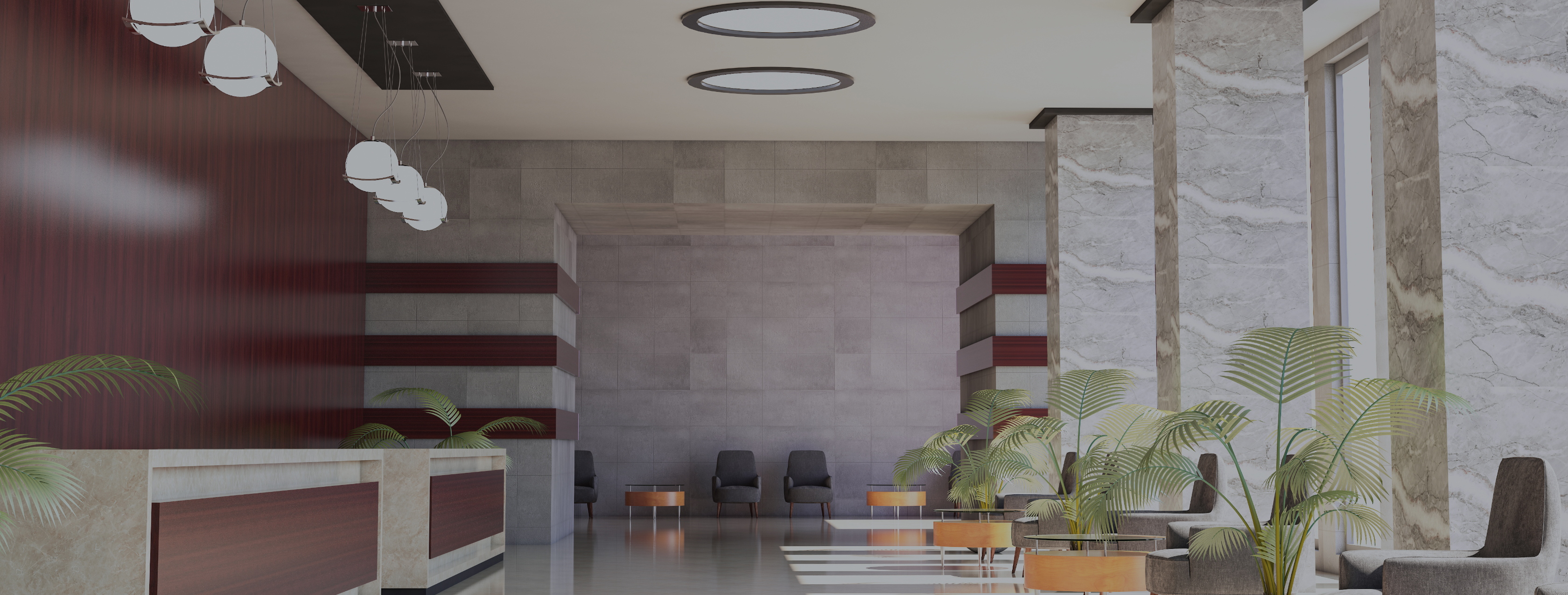 View of lobby with plants and marble walls