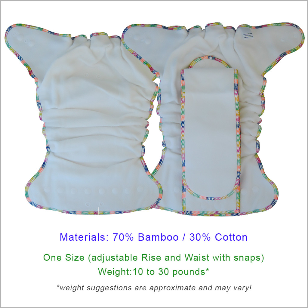 Bamboo Night Fitted Cloth Diaper, One Size