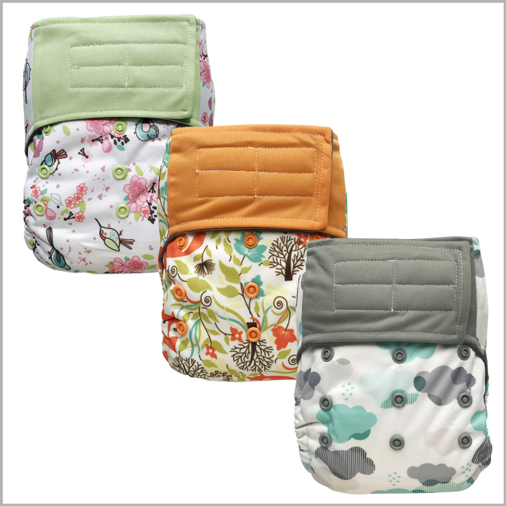 Ecoable - All-in-one Cloth Diaper with Extra Insert, Hook-&-Loop