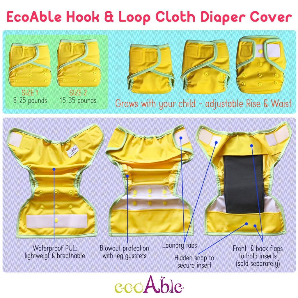 Ecoable - Waterproof PUL Cloth Diaper Cover, Hook & Loop
