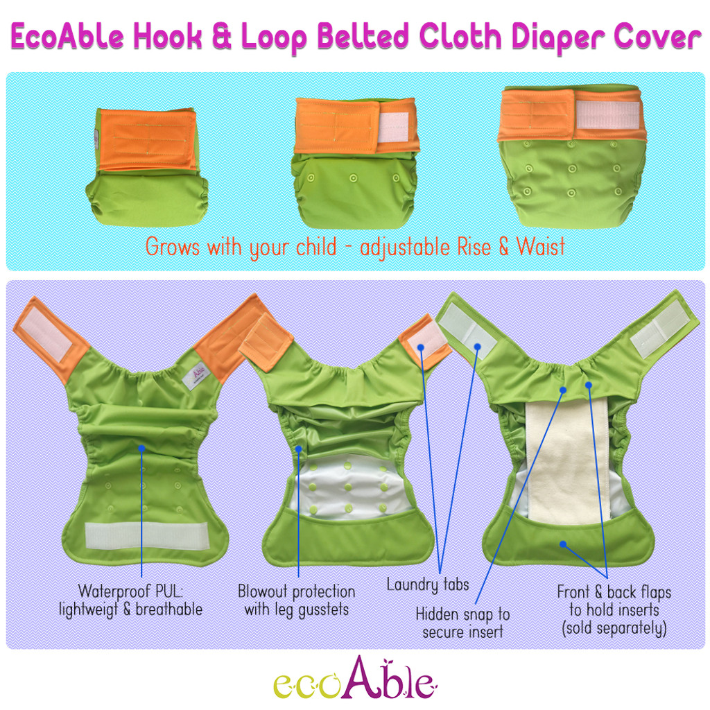 Ecoable - One Size Waterproof PUL Cloth Diaper Cover, Hook & Loop