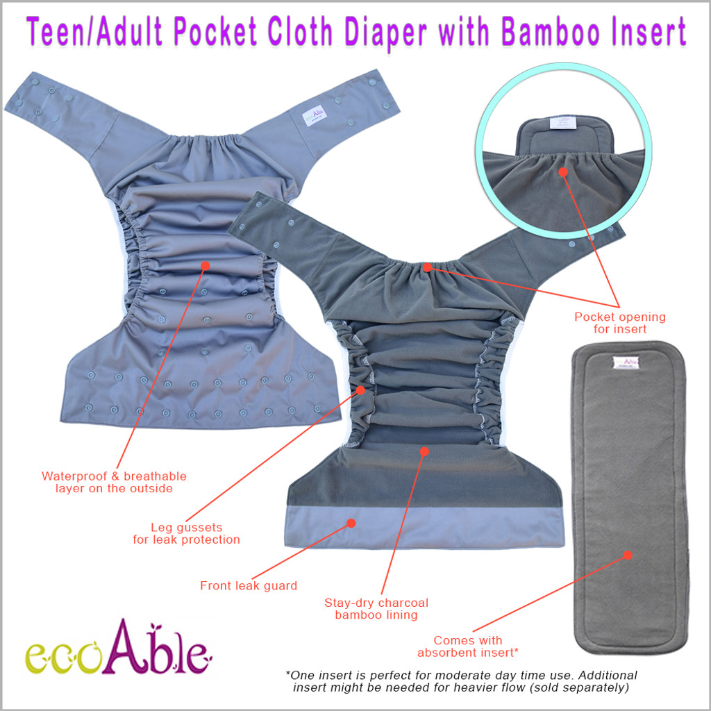 EcoAble Teen & Adult Pocket Cloth Diaper with Bamboo Insert, One Size