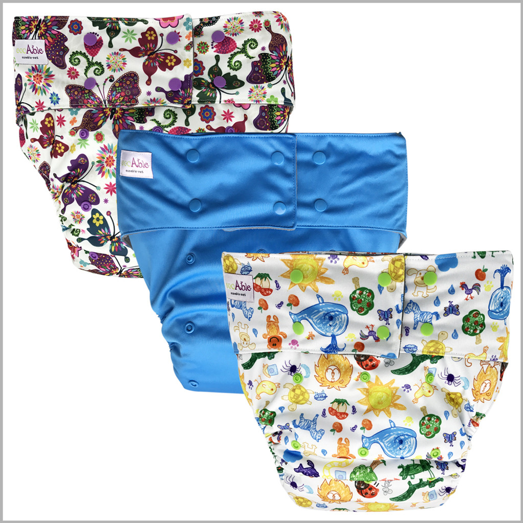 Ecoable - Teen & Adult Cloth Diaper with Microfiber Insert, One Size